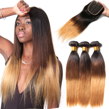 3 Bundles Ombre Brazilian Straight Human Hair Bundle With Closure Weave 1b/4/27 4x4 Free Part Remy Blonde Lace Closure SAY ME