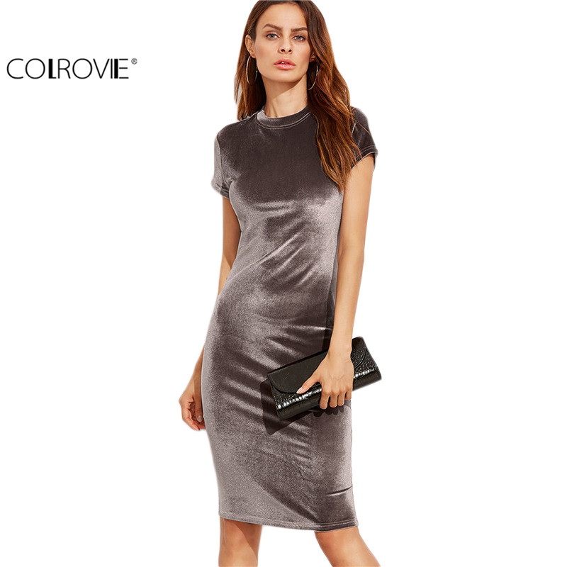 Colrovie velvet vaina oficina dress ladies cuello redondo delgado ropa de trabaj