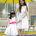 mother daughter dresses children short sleeve flowers girls dress mom dress family matching clothes
