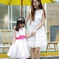 mother daughter dresses children short sleeve flowers girls dress mom dress family matching clothes
