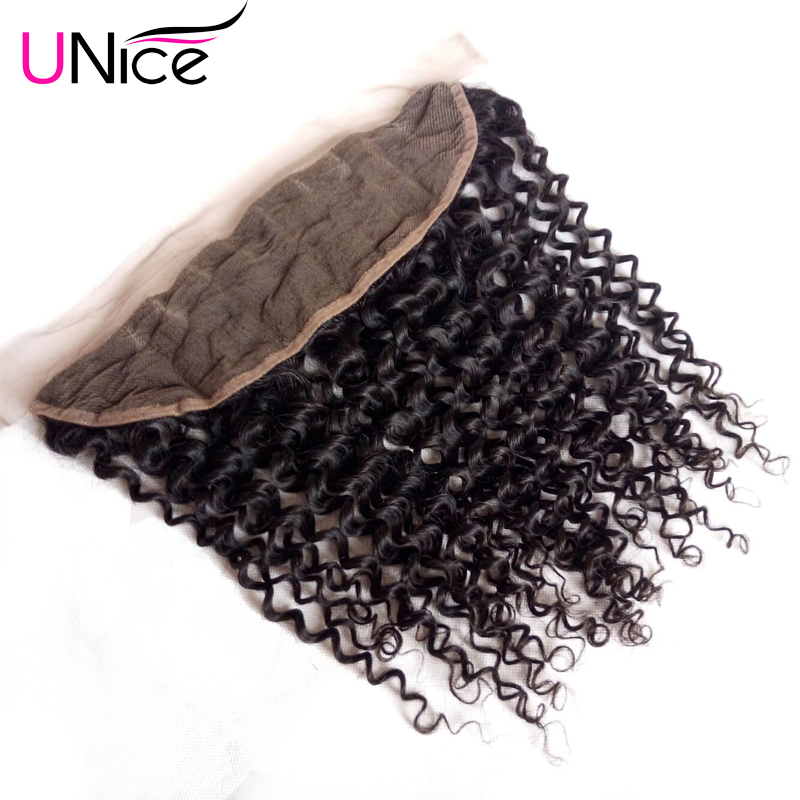 Unice Hair Closure Lace-Frontal Malaysian Curly 13--X4-1pcs Free-Part Icenu-Series Ear-To-Ear