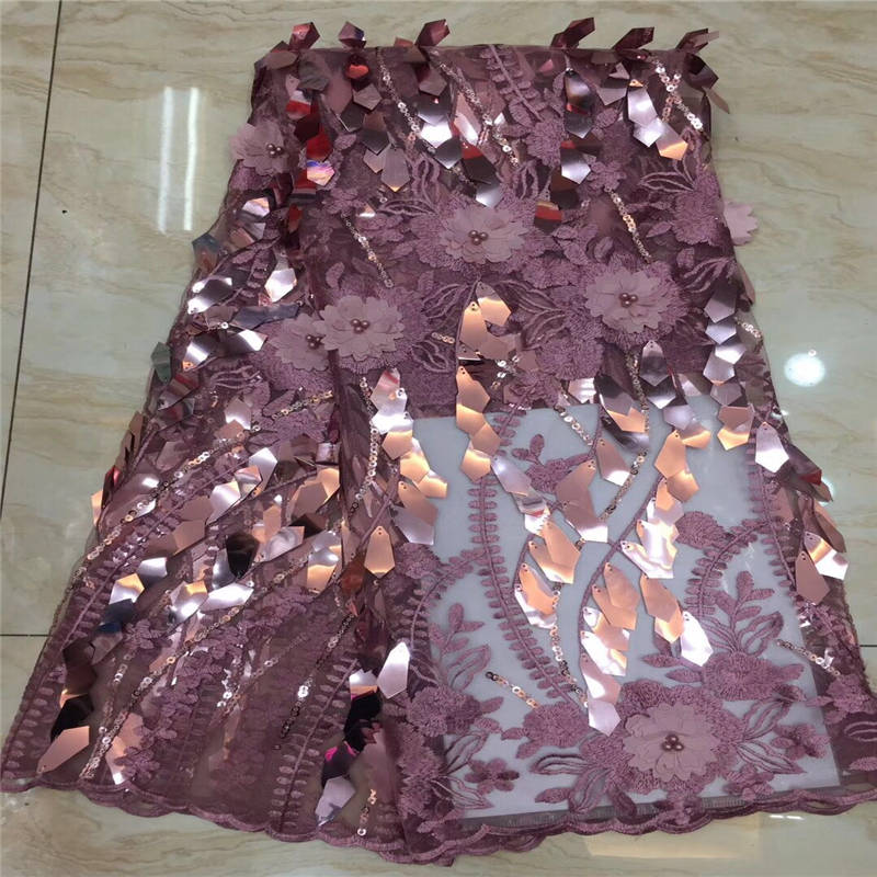 2019 latest pink sequins french lace fabric high quality nigerian tulle lace fabric for luxury evening dresses