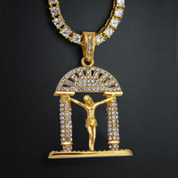 2018 Fashion New Hip Hop Gold Color Tennis Chains Metal CZ Crystal Cross Jesus Pendant Necklace Jewelry 24 Inch