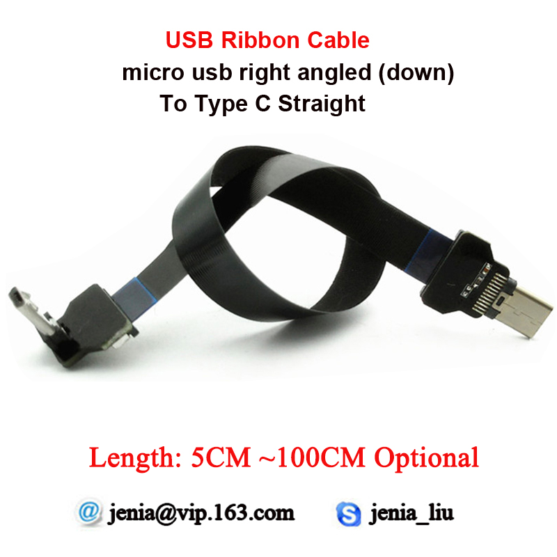 5CM-100CM Ultra Thin USB Cable Straight Type C Male To Male Micro Right Angled (down) FFC Flat Ribbon Cable