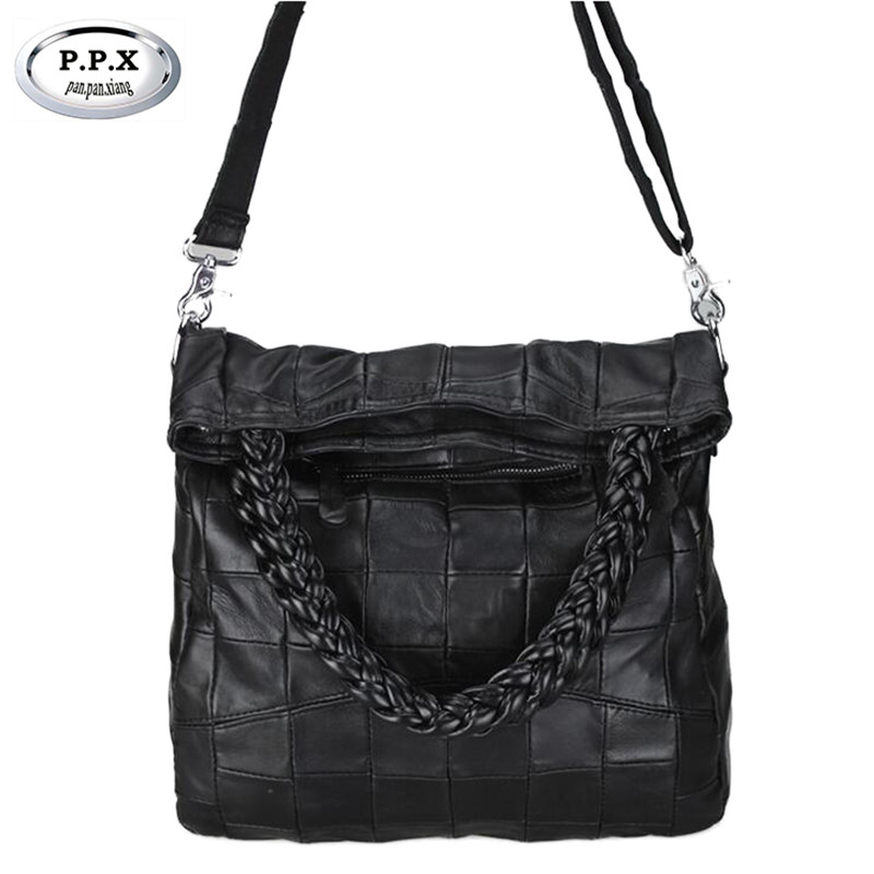 P.P.X Famous Brand Women Bag Fashion Sheepskin Patchwork Handbag Genuine Leather Messenger Bag Elegant Lady Shoulder Bags M600 new 2017 fashion leather lady patchwork natural sheepskin shoulder bag famous brand women s bag casual bag