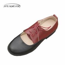 2ec1436e05b women summer leather oxford sandals big woman shoes grey black round toe  handmade 2018 oxfords shoes for women