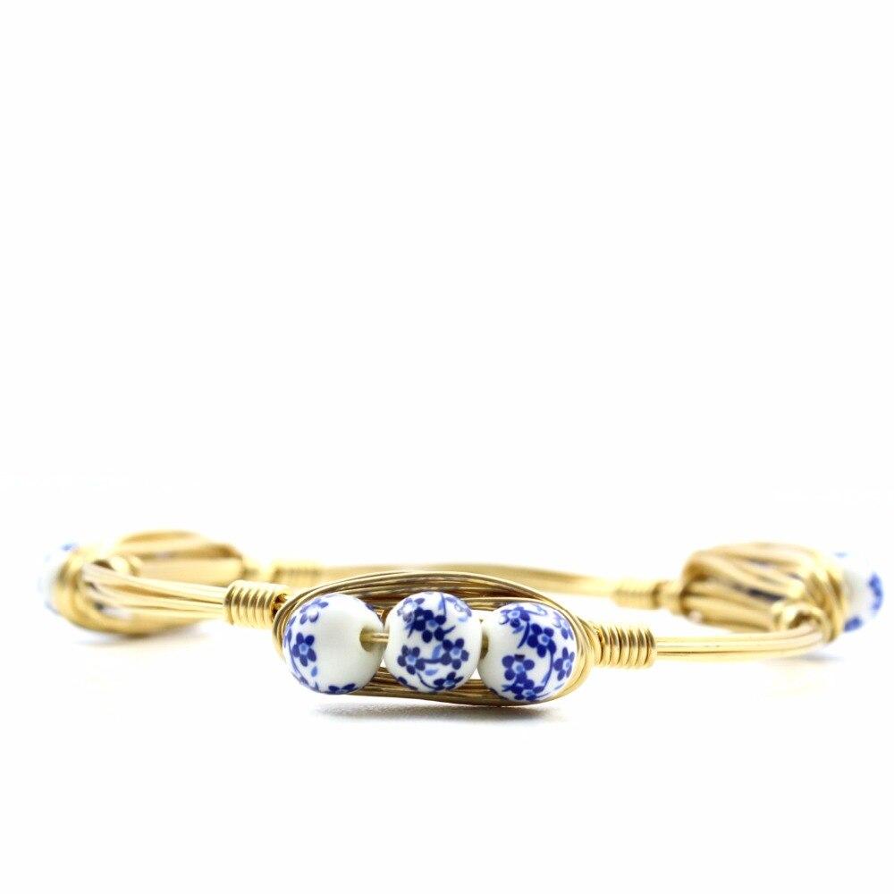 Floral Wire Bangle Bracelet Flower Bracelet Blue Floral Bridesmaids ...