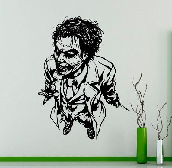 Famous movie character joker pattern wall sticker comics art design vinyl decals bedroom livingroom home special