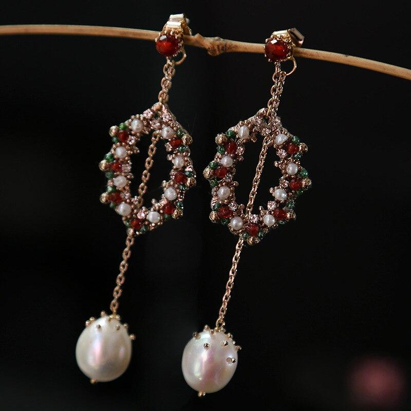 Perle naturelle seiko ensemble tarière importation conception manuelle bambou corail mer haut de gamme mode boucles d'oreilles boucles d'oreilles