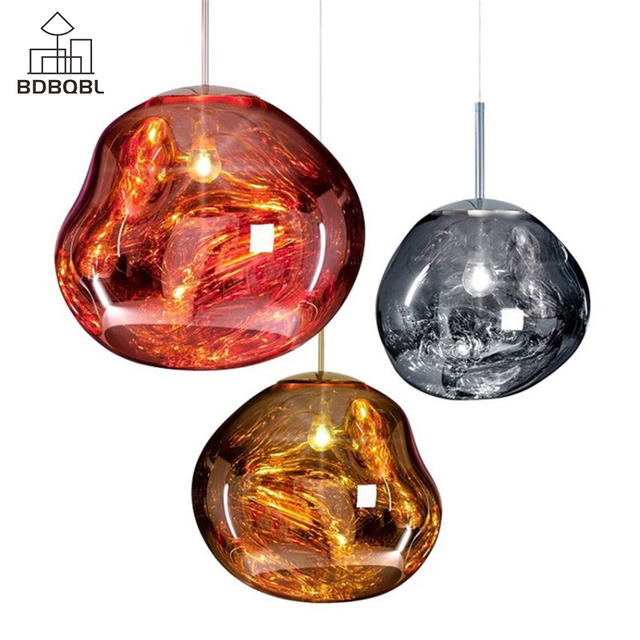 BDBQBL Novelty Glass Lava Irregular Pendant Lights Dia25/40CM Copper/Gold/Silver Melt Hanging Lamp E27 Creative Bedroom Hanglamp