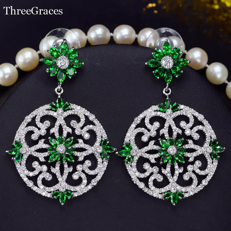 ThreeGraces New Designable Bridal Jewelry Silver Color Full Pave Zirconia Stone Big Round Green Wedding Earrings