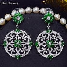 Threegraces Новый проектирование свадебные украшения, серебряные Цвет Полный проложить циркония камень большой круглый зеленые свадебные Серьги для Для женщин ER345