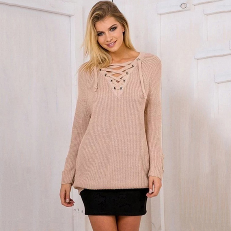 New Women Fashion Bandage Knitted Sweater Dress V-neck Long-sleeved Mini Dress  European Style Autumn Women Dresses