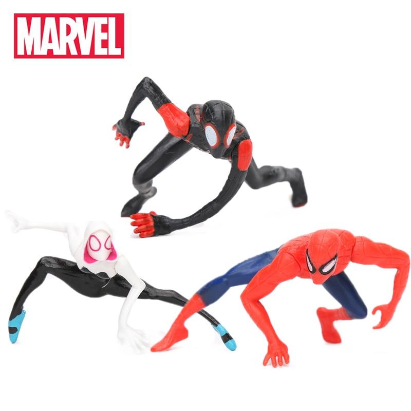 4-5CM Marvel Toys Mini Spider-Man Homecoming Spiderman Figure Spider-Gwen Miles Morales Peter Parker PVC Action Figures Figurine