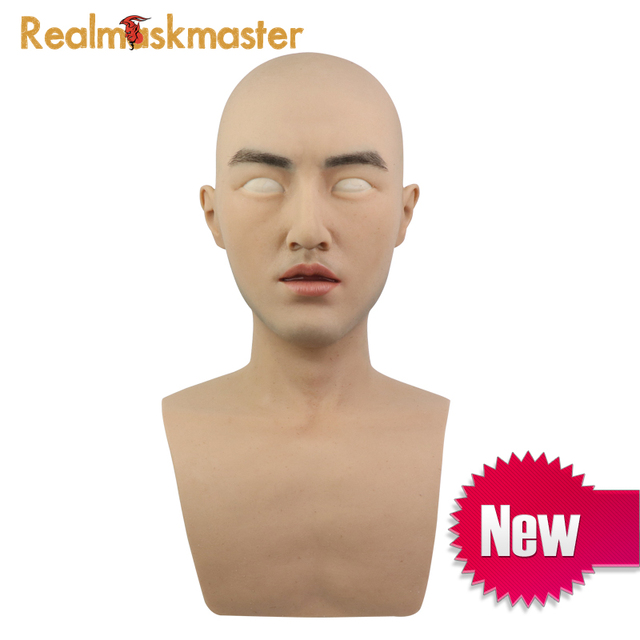 Realmaskmaster realistic silicone halloween mask for man party supplies artificial latex adult full face party male masks fetish