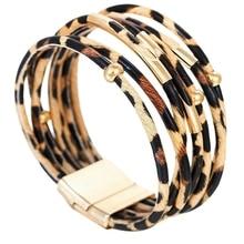 Fashion Animal Leopard-Print Bracelet Wrap For Alloy Tube Multilayer Bangle Jewelry Gift