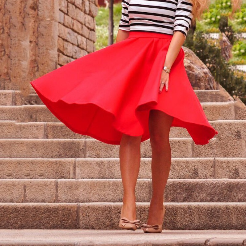 Fashion Women Skirt High Waist All-match Female Casual Solid Loose Knee-Length Skirts