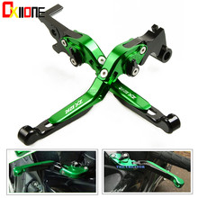 цена на Motorcycle Accessories CNC Adjustable  Folding Extendable Clutch Brake Levers For Kawasaki ZX12R ZX-12R 2000-2005 Green&Titanium
