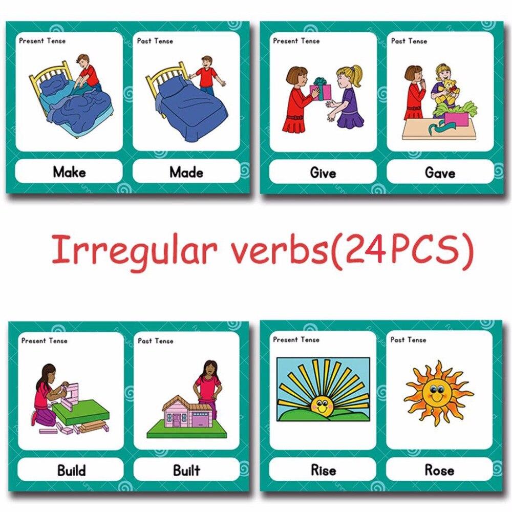 24 Pcs/Set Irregular Verbs English Flash Cards Pocket Card Kids Children Game Learning Educational Toys