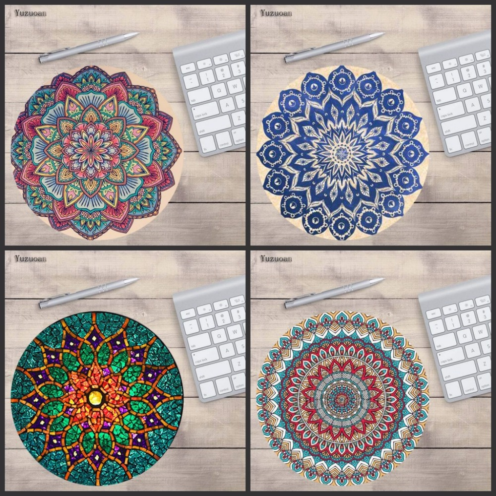 Yuzuoan Round laptop Mouse Pad Desert Mandala Circle of Friends Customize Your Own Image Good Quality Anti-Skid Table Mats