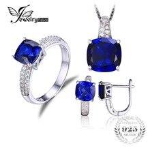 Jewelrypalace cuadrado creado anillo de zafiro colgante pendiente de clip de la joyería set s925 plata de ley 925 de plata de ley