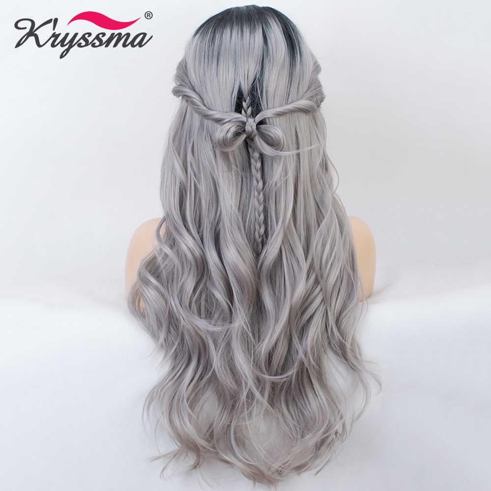 Омбре серый длинный волнистый парик синтетический парик кружева спереди Серебряные черные корни к серым парики для женщин средняя часть Термостойкое волокно