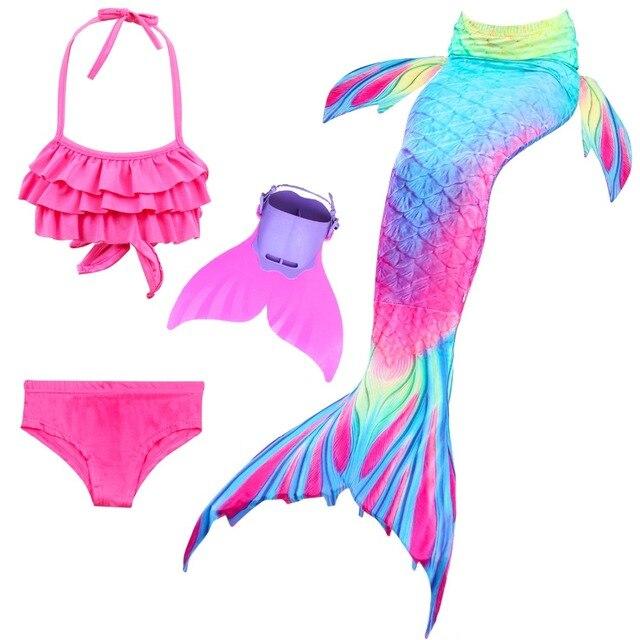 1d1936961 Niños cola de sirena con Monofin niñas niños disfraces Cosplay traje de baño  poco sirena traje