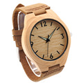 Bobobird Men Minimalist Natural Bamboo Japanese Quartz Wooden Dial Genuine Leather Band Wrist Watch, Brown