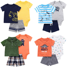 Boys Clothing Sets Summer Baby Clothes Suit Cartoon Print Polo T-Shirt +Rompers+Shorts 3pcs for Set
