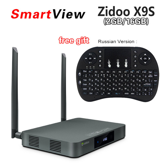 ZIDOO X9S Android 6.0 TV Box Realtek RTD1295 Quad Core 2G/16G HDMI OUT/IN KODI Smart TV Russian Hebrew IPTV Europe Media Player