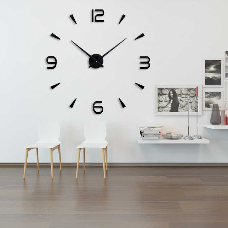 2019 muhsein New Home Decor Quartz Diy Wall Clock Clocks Horloge Watch Living Room Metal Acrylic Mirror 37 inch Free shipping
