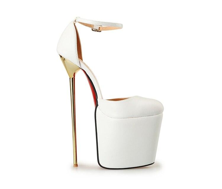 ФОТО Queen Style 22cm super high pointed toe metal heels big yards  -8.5-15.5