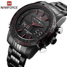 NAVIFORCE Brand Mens 30M Waterproof Sport Watch Men Stainless Steel Analog Digital LED Watches Dual Time Clock Relogio Masculino