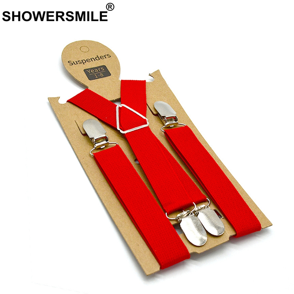 SHOWERSMILE Boys Suspenders Vintage High Quality Child Braces Red Girls Pants Strap Elastic Adjustable 4 Clips Kids Suspenders