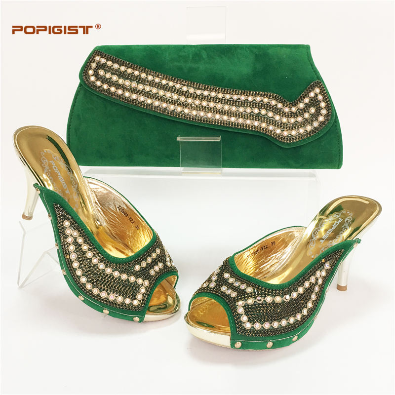 Green New Fashion Italian Shoes With Matching Bags For Party High Quality Shoes And Bags Set ...