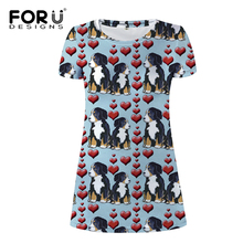 FORUDESIGNS Funny Bernese Mountain Dog Print Women Dress Ladies Casual Daliy Cloth for Females Teenagers Cute Puppy Mini