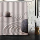 Custom Zen Stone Sand and stones Waterproof Fabric Bathroom Shower Curtain big size 180x180cm And 180x200cm Free Shipping