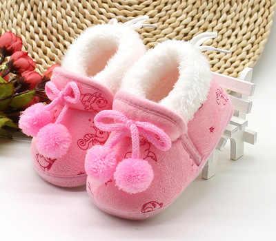 2018 الحلو طفل الرضع طفل الفتيات الشتاء الدافئة أفخم لينة وحيد لطيف الأحذية ل طيف الطفل 0-18 متر