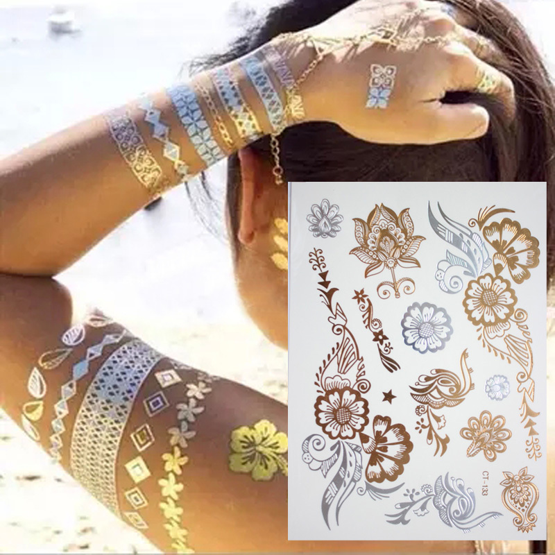 Tribal Henna Tattoo: New Indian Arabic Designs Golden Silver Flash Tribal Henna