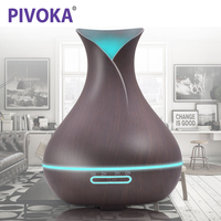 PIVOKA 400ml Aroma Essential Oil Diffuser Ultrasonic Air Humidifier With Wood Grain Electric LED Lights Aroma