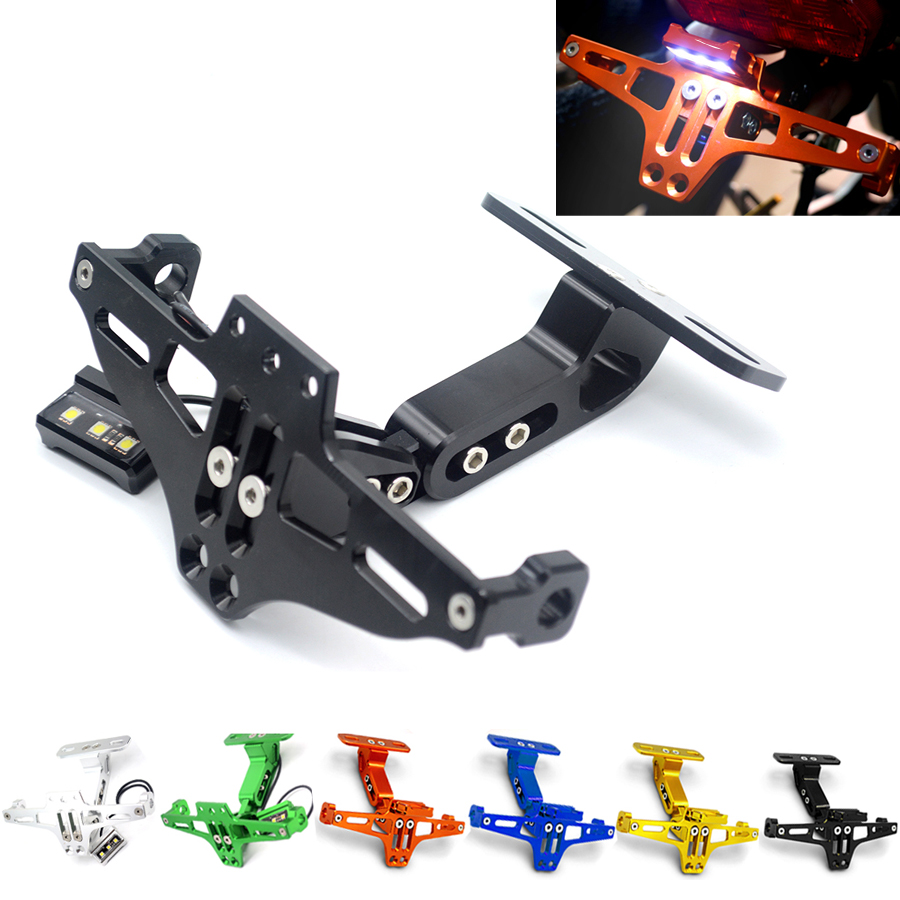 Universal Motorbike Motorcycle Adjustable Angle Moto Aluminum License Number Plate Frame Holder Bracket with License Plate light