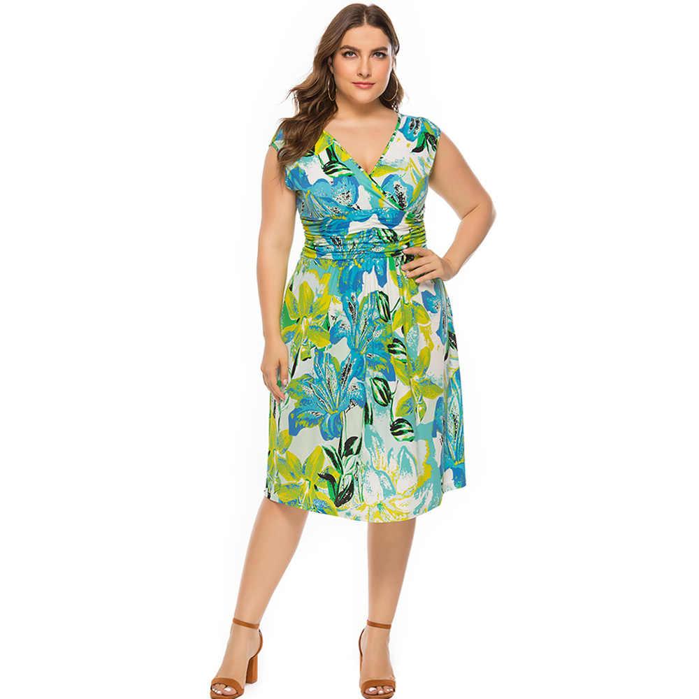 Wipalo плюс Размер летнее праздничное платье с принтом женское новое платье с цветочным принтом по колено пляжное праздничное зеленое платье 6XL
