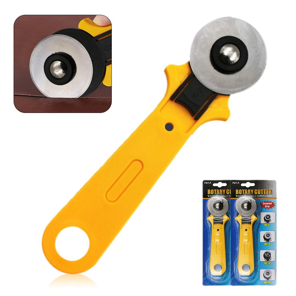45mm Hob Cloth Cutting Cutter Manual Patchwork Tool Leather Wallpaper Round Roller Cutter Knife Piecing Sewing Tools