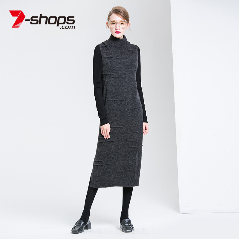 7 Shops Winter Women Dresses Wool Turtleneck O Neck Casual Sleeveless Vestidos Knitting Pullover Female Casual Dress Vintage