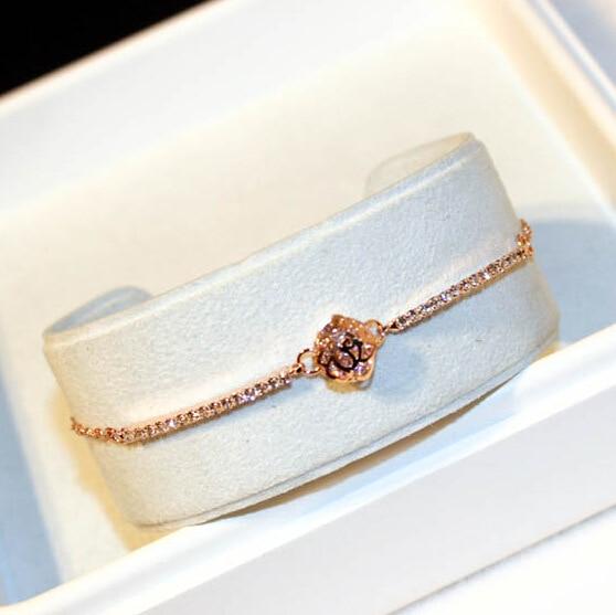 2017 new fine zircon flower rose gold-color charm bracelet women trendy bracelets & bangles jewelry nice gift