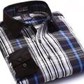 2017 New Arrival Striped shirt dos homens de Alta Qualidade de Retalhos de Veludo colarinho manga longa 100% algodão casual camisas dos homens 4xl masculino top