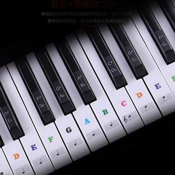 Calcomanía sobre música desmontable transparente notas piano teclado pegatinas 54/61 o 88 teclas piano Electrónico espectro pegatina símbolo
