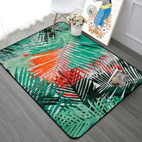 Green Orange Leaf Pattern Carpet Rugs Nordic Fresh Style Living Room Tea Table Home Decor Mats