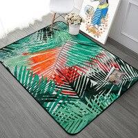 Green Orange Leaf Pattern Carpet Rugs Nordic Fresh Style Living Room Tea Table Home Decor Mats