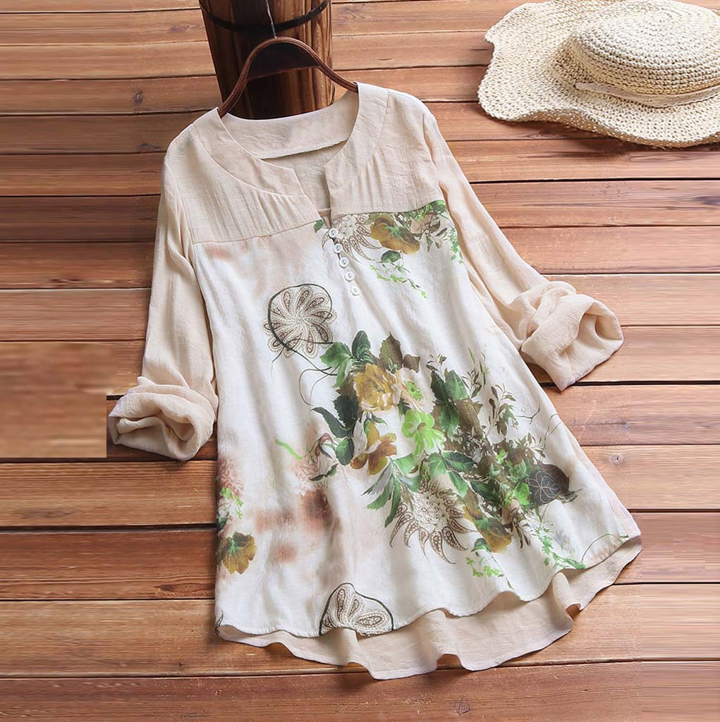 feitong Women Vintage Top Shirt Blouse V-Neck Floral Printing Patch Long Sleeves Ladies Top Elegant Blouse Women Roupas Feminina